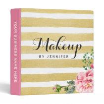 Makeup Beauty Salon Pink Floral Gold Stripes 3 Ring Binder
