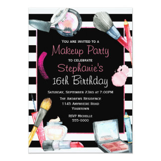 Makeup Birthday Party Card