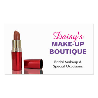 Makeup Boutique Salon Stylish Elegant Red Lipstick Business Card