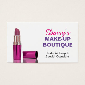 Makeup Boutique Salon Stylish Pink Purple Lipstick Business Card