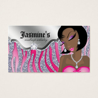 Makeup Business Card African American Zebra PS