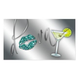 Makeup Business Card Diva Teal Sparkle Martini