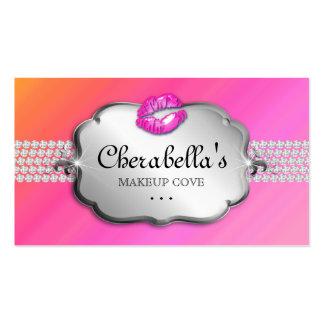 Makeup Business Card Silver Pink Orange Heart