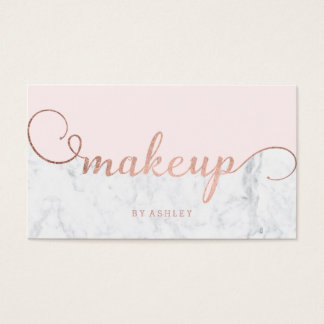 Makeup color block rose gold typography marble business card