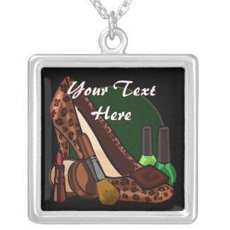 Makeup Cosmetics and Leopard Print Shoe Square Pendant Necklace