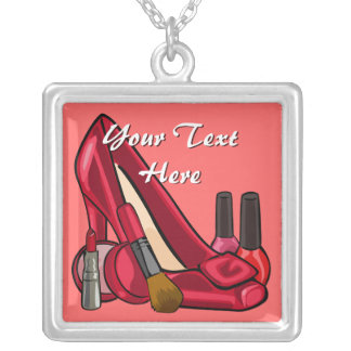 Makeup Cosmetics and Red Pump Shoe Square Pendant Necklace