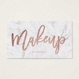 Makeup custom rose gold typography white marble business card