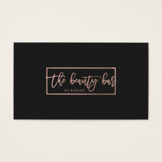 Makeup custom typography simple faux rose gold business card