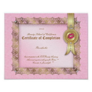 Makeup Diploma Certificate of Completion Pink Gold Posters