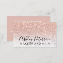 Makeup elegant typography marble rose gold glitter business card