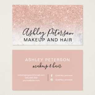 Glitter business cards templates zazzle makeup elegant typography marble rose gold glitter business card colourmoves