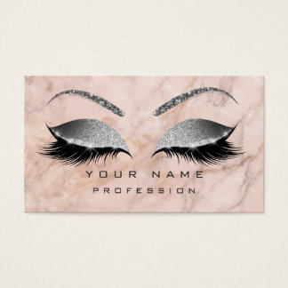 Makeup Eye Lashes Glitter Gray Pink Marble Eyebrow Business Card