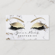 Makeup Eyebrow Eyes Lashes Glitter Gold Marble Business Card