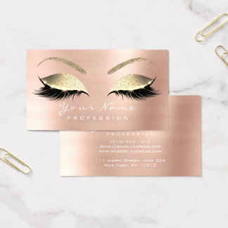 Makeup Eyebrow Eyes Lashes Glitter Rose Gold Business Card