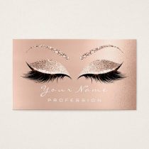 Makeup Eyebrow Eyes Lashes Glitter Rose White Business Card