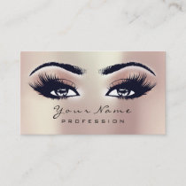 Makeup Eyebrow Eyes Lashes Glitter SPA Pink Rose Business Card
