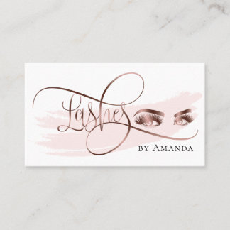 Makeup Eyebrow Eyes Lashes Rose Gold Business Card