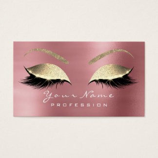 Makeup Eyebrow Lashes Extension Glitter Rose Gold Business Card