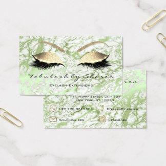Makeup Eyebrow Lashes Glitter Diamond Marble Mint Business Card