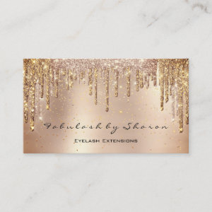 Makeup Eyebrow Lashes Glitter Drips Gold Spark Business Card