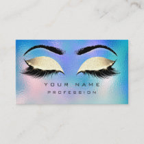 Makeup Eyebrows Lashes Glitter Blue Aqua OceanGold Business Card