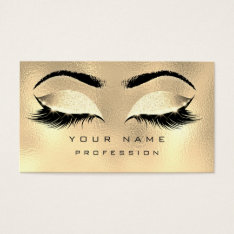 Makeup Eyebrows Lashes Glitter Metallic Glam Gold Business Card at Zazzle