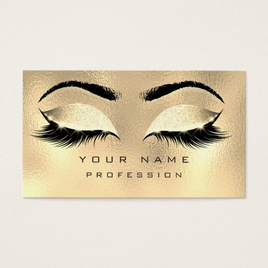 Makeup eyebrows lashes glitter metallic glam gold business for Eyelash extension gift certificate template