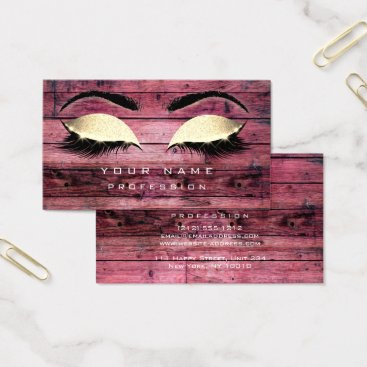 Beach Themed Makeup Eyebrows Lashes Rustic Black Wood Pink Business Card