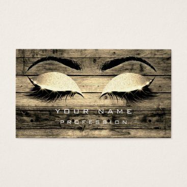Beach Themed Makeup Eyebrows Lashes Rustic Black Wood Sepia Business Card