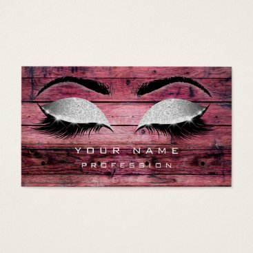 Beach Themed Makeup Eyebrows Lashes Rustic Black Wood Silver Business Card