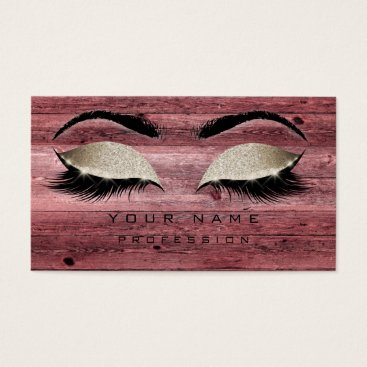 Beach Themed Makeup Eyebrows Lashes Rustic Pink Glitter Wood Business Card