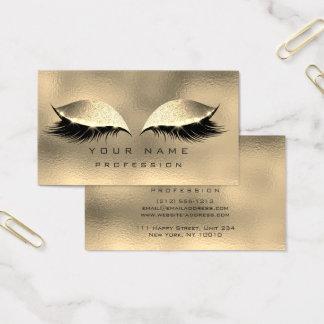 Makeup Eyes Lashes Glitter Metallic Glass Gold Business Card