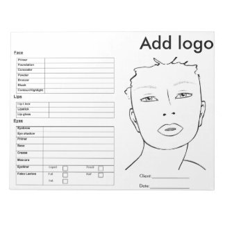 Makeup Face Chart Notepad