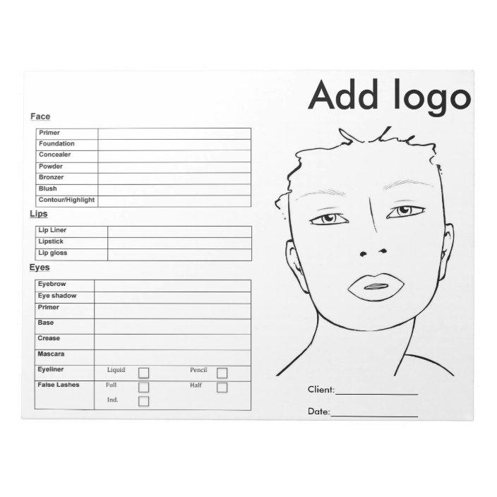 Makeup Face Chart Notepad Zazzle Com