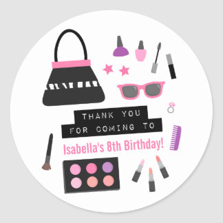 Makeup Fashion Show Birthday Party Deco Stickers