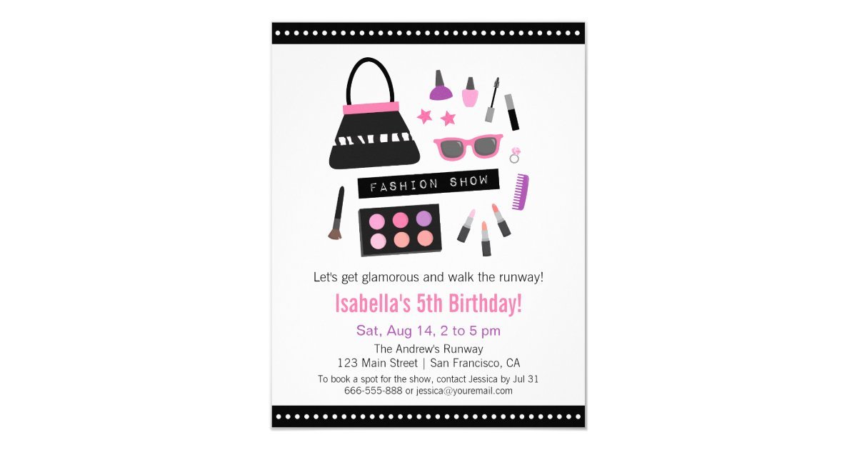 Makeup Fashion Show Birthday Party Invitations | Zazzle.com