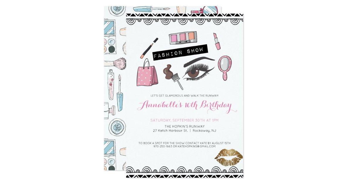 Makeup/Fashion Show Party Invitation | Zazzle.com