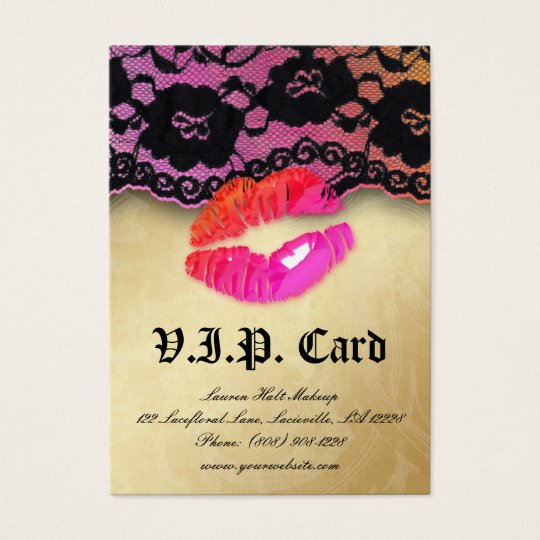 Makeup Glossy Lips N Lace VIP Card Pink Orange