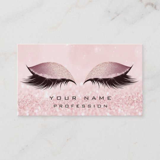 makeup gold blush pink glitter eye lash extension business card - Lash Extension Business Cards