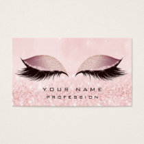 Makeup Gold Blush Pink Glitter Eye Lash Extension Business Card