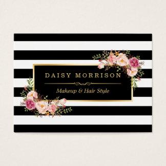 Makeup Hair Style Salon Elegant Gold Floral Decor Business Card
