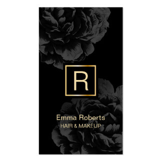 Makeup & Hair Stylist Monogram Elegant Dark Floral Business Card