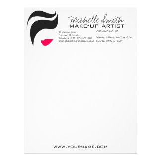 Makeup Icon Woman face in black white pink lips Letterhead