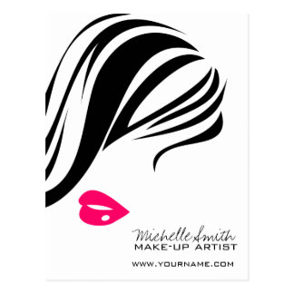 Makeup Icon Woman face in black white pink lips Postcard