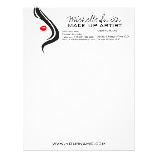 Makeup Icon Woman face in black white red lips Letterhead