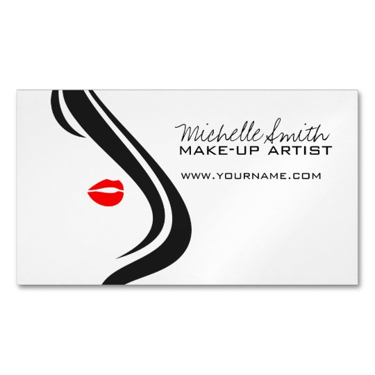 Makeup icon woman face in black white red lips magnetic business makeup icon woman face in black white red lips magnetic business card colourmoves