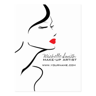 Makeup Icon Woman face in black white red lips Postcard