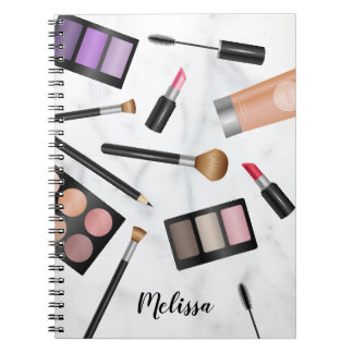 Makeup Items Illustration On Faux Marble & Name Notebook