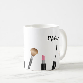 Makeup Items Illustration & Personalized Name Coffee Mug