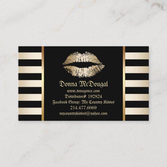 makeup lip product distributor modern gold lips business card - Senegence Business Cards